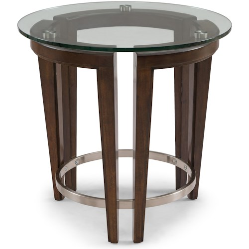 Magnussen Home Carmen Contemporary Wood and Glass Round End Table