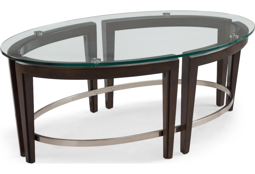 Magnussen Home Carmen T3110 47 Contemporary Wood And Glass Oval Cocktail Table Upper Room Home Furnishings Cocktail Coffee Tables