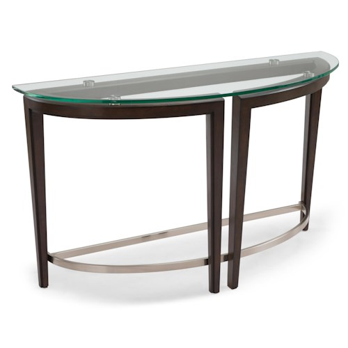 Belfort Select Carmen Contemporary Wood and Glass Demilune Sofa Table