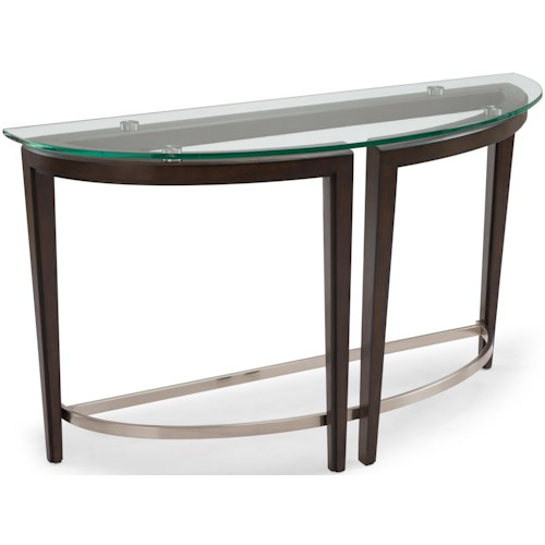 Magnussen Home Carmen Contemporary Wood and Glass Demilune Sofa Table