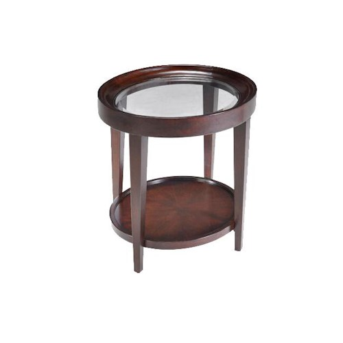 Belfort Select Carson  Glass Top Oval End Table