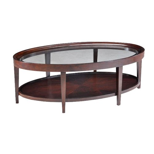 Magnussen Home Carson  Glass Top Oval Cocktail Table