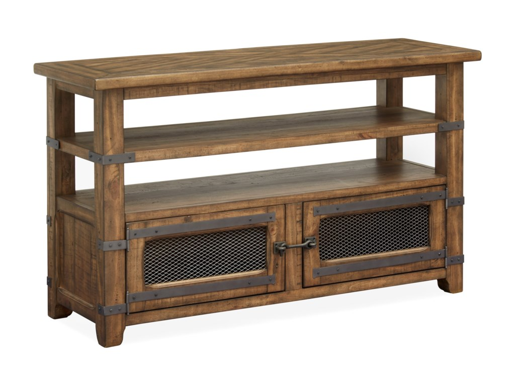 Chesterfield Rustic Sofa Table with 2-Doors by Magnussen Home at Conlin\'s  Furniture