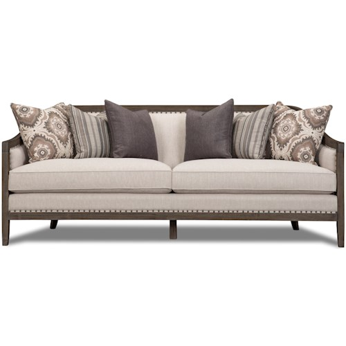 Magnussen Home Colbie Exposed Wood Frame Sofa with Nailhead Trim