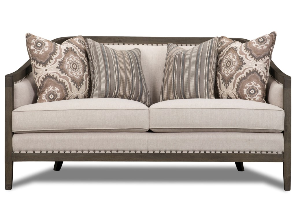 magnussen home colbie exposed wood frame settee with nailhead trim becks furniture settees - Exposed Wood Frame Sofa
