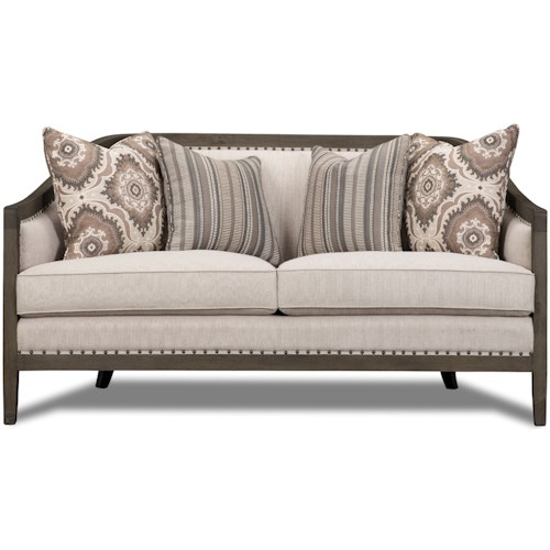Magnussen Home Colbie Exposed Wood Frame Settee with Nailhead Trim