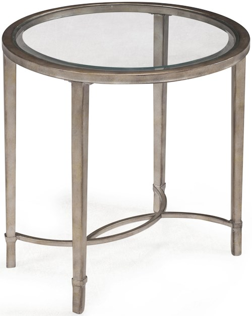Magnussen Home Copia Metal and Glass Oval End Table