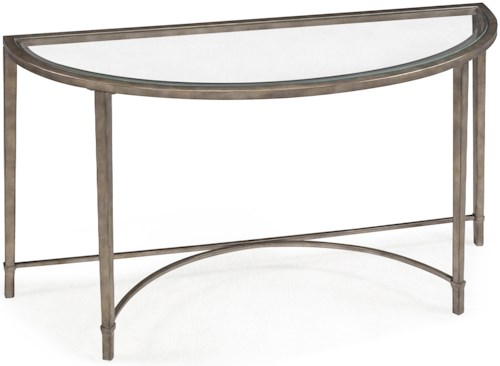 Magnussen Home Copia Metal and Glass Demilune Sofa Table