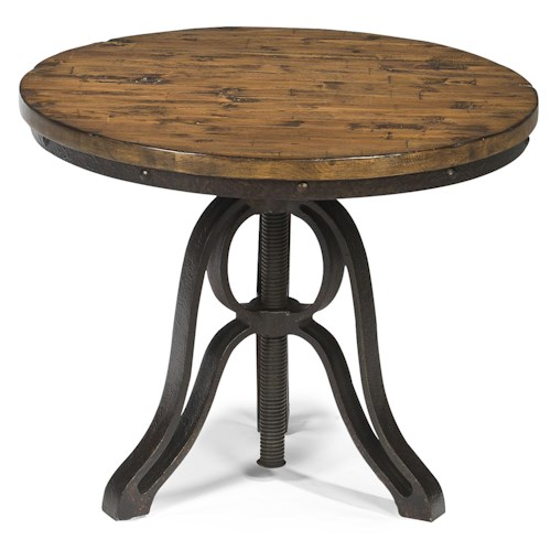 Magnussen Home Rondell Industrial Style Round End Table with Adjustable Height