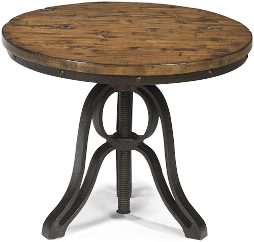 Magnussen Home Cranfill Industrial Style Round End Table with Adjustable Height