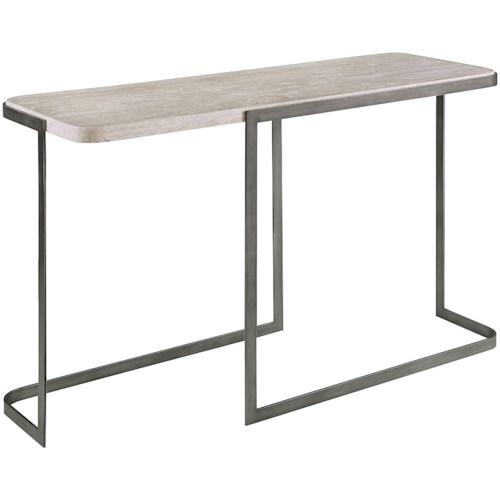 Magnussen Home Deaton Contemporary Rectangular Sofa Table with Metal Base