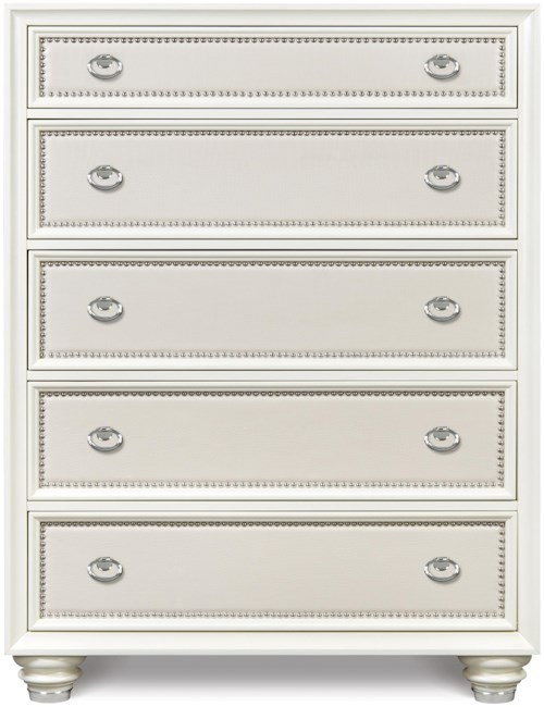 Magnussen Home Diamond Bedroom Five Drawer Chest with Embossed Vinyl Panels and Chrome Nail Head Trim