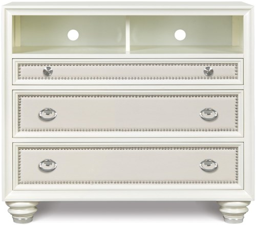 Magnussen Home Diamond Bedroom Embossed Vinyl Upholstered Media Chest with 3 Drawers and 1 Open Component Storage Area with Wire Access