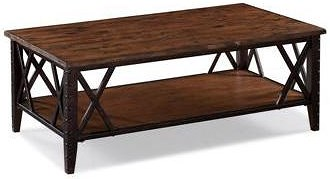 Magnussen Home Fleming Rectangular Cocktail Table with Metal Accents