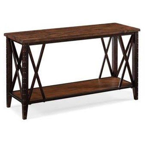 Magnussen Home Fleming Rectangular Sofa Table with Metal Accents