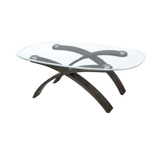 Magnussen Home Forum Contemporary Oval Cocktail Table with Glass Top