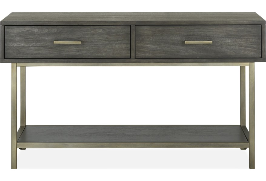 Fulton MH Mid-Century Modern Sofa Table with Two Drawers by Magnussen Home  at Dunk & Bright Furniture