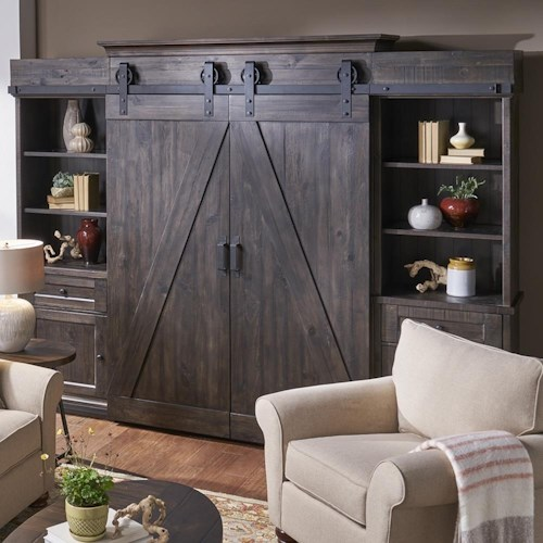Belfort Select Garrett 3778 Rustic Industrial Entertainment Wall Unit with LED Display Lighting and Media Storage