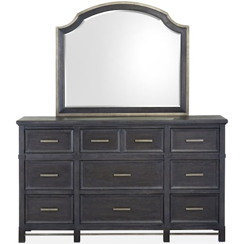 Magnussen Home Grafton Avenue Nine Drawer Dresser and Shaped Mirror Set