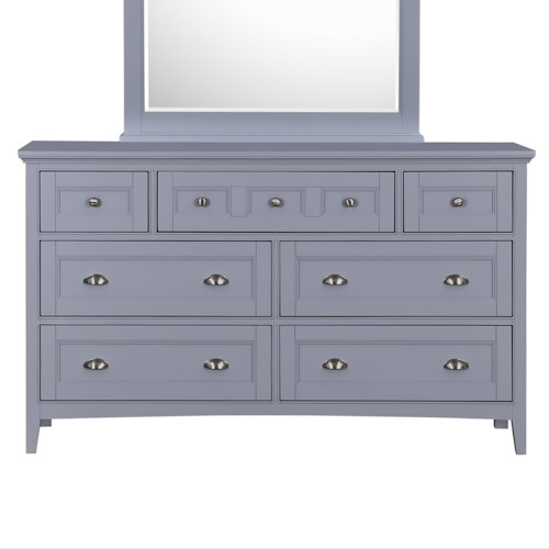 Magnussen Home Mason Vintage Gray Dresser with Drop-Front Media Drawer