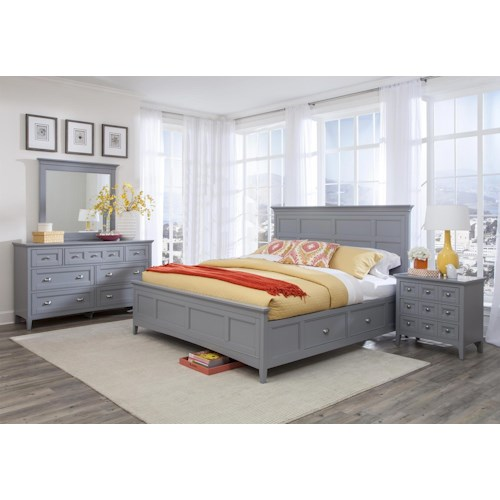Magnussen Home Mason 4PC Queen Storage Bedroom Set