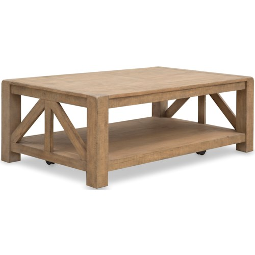 Magnussen Home Griffith Rectangular Cocktail Table with Casters