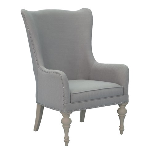 Belfort Select Magnolia Park Upholstered Wing Back Host Chair in Gray Fabric