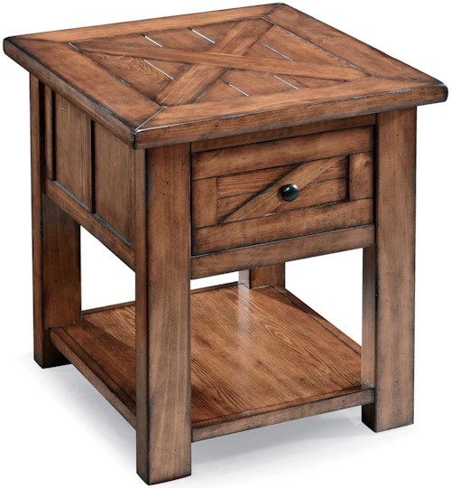 Magnussen Home Harper Farm Country Industrial End Table with Drawer