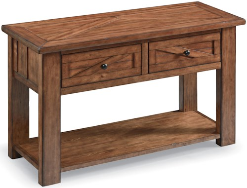 Magnussen Home Harper Farm Country Industrial Rectangular Sofa Table with Drawers