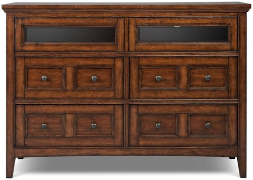 Magnussen Home Harrison Media Chest With 4 Drawers and 2 Drawers With Drop Down Glass Fronts