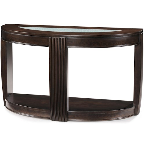 Magnussen Home Ino Demilune Console Table w/ Glass Insert