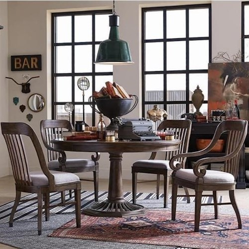 Magnussen Home Jefferson Market Traditional Dining Set with Round Table, Two Arm Chairs, and Two Side Chairs