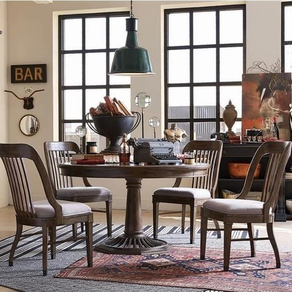 Jefferson Market Traditional Dining Set With Round Table And Four Side Chairs By Magnussen Home