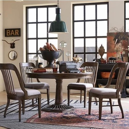 Magnussen Home Jefferson Market Traditional Dining Set with Round Table and Four Side Chairs