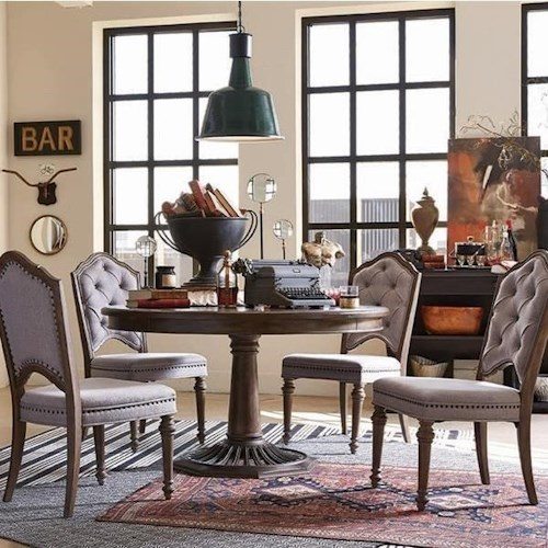 Magnussen Home Jefferson Market Traditional Dining Set with Round Table and Four Upholstered Side Chairs