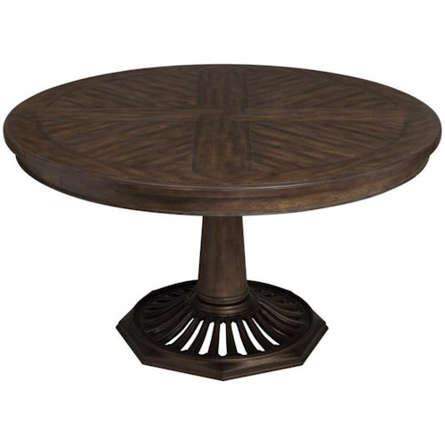 Magnussen Home Jefferson Market Vintage Round Dining Table with Pedestal Base