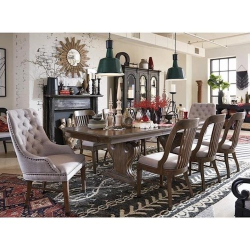 Magnussen Home Jefferson Market Traditional Dining Set with Six Side Chairs and Two Arm Chairs