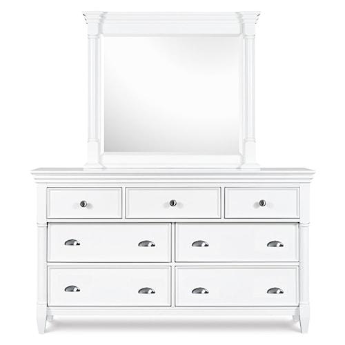 Magnussen Home Kasey  7-Drawer Dresser & Framed Landscape Mirror