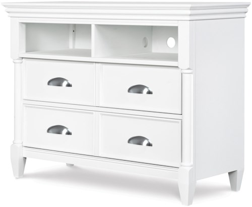Magnussen Home Kasey  White Media Chest with Component Compartments & 4 Drawers