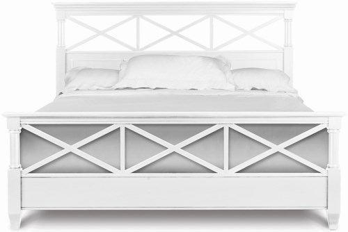 Magnussen Home Kasey  California King Panel Bed with White Finish & Open Fretwork