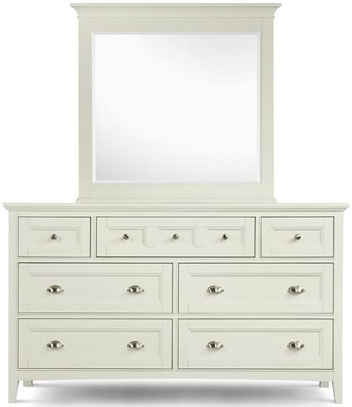 Magnussen Home Kentwood Double Dresser With 7 Drawers and Drop Down Front On Top Center and Beveled Landscape Mirror