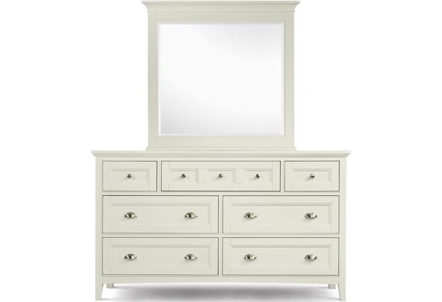 Magnussen Home Kentwood B1475 22 40 Double Dresser With 7 Drawers And Drop Down Front On Top Center And Beveled Landscape Mirror Upper Room Home Furnishings Dresser Mirror Sets