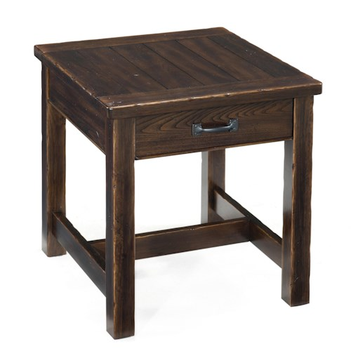 Magnussen Home Kinderton Rustic End Table with Drawer