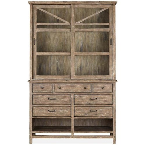 Magnussen Home Bluff Heights Rustic Server with Hutch and Dovetail Joinery