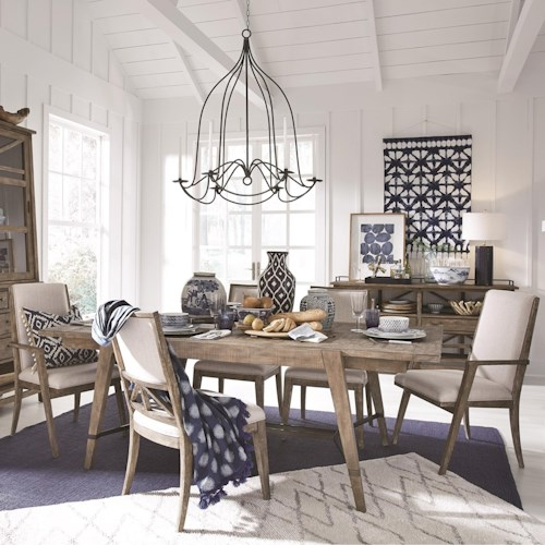 Magnussen Home Bluff Heights Rustic 7 Piece Dining Set at Standard Height
