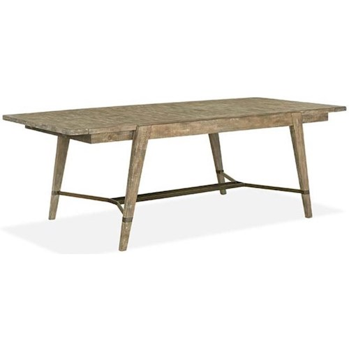 Magnussen Home Bluff Heights Rustic Rectangular Dining Table with Breadboard Leaves