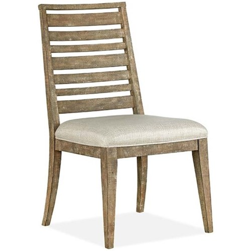 Magnussen Home Bluff Heights Rustic Dining Side Chair with Upholstered Seat