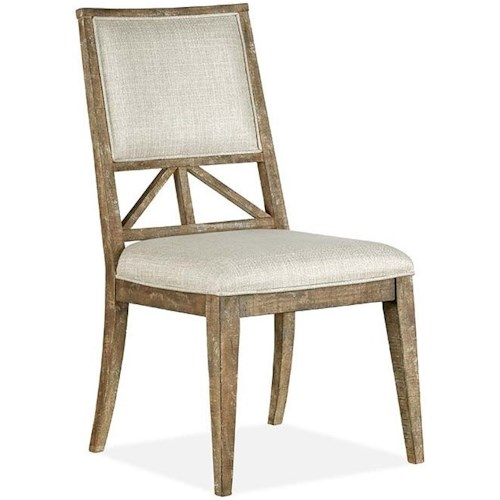 Magnussen Home Bluff Heights Rustic Dining Side Chair with Upholstered Seat and Back