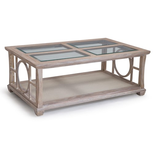 Belfort Select Lana Glass Top Cocktail Table with Hidden Casters