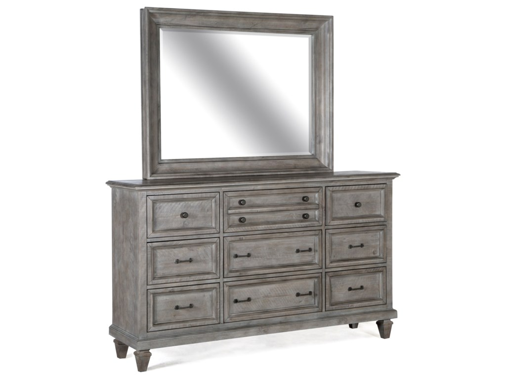 Magnussen Home Lancaster Rustic Nine Drawer Dresser With Mirror